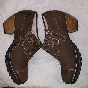 Jambu leather zip heeled clogs